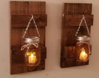Rustic Wood Wall Sconce With Ball Mason Jar and Battery Candle