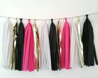 Kate Spade inspired tassel garland - black, white, fuchsia and gold tassel garland - Kate Spade inspired party