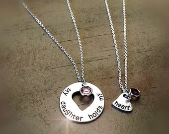 Mommy/mother daughter necklaces/mother daughter gift/mommy's girl/mom jewelry/birthstone/daughter/mom/birthday/gift/personalized