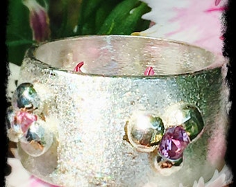 Pink sapphire silver ring