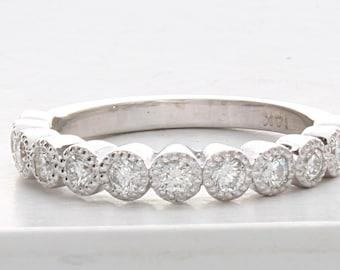 Vintage Wedding Band, Milgrain Wedding Band, Milgrain Wedding Ring, Unique Diamond Wedding Band, Art Deco DIamond Ring