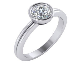 Bezel Set Solitaire Ring, Solitaire Diamond Ring, Solitaire Diamond Engagement Ring, Bezel Set Solitaire Diamond Engagement Ring in 14k Gold