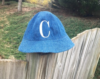 Monogrammed Baby sun hat - custom initial infant hat - baby boy - baby girl