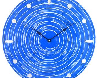 Large Weathered Circle Dark Blue and White Clock