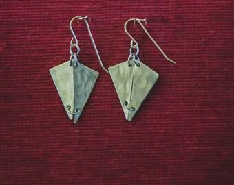 """Brass triangle """"3D"""" earrings"""