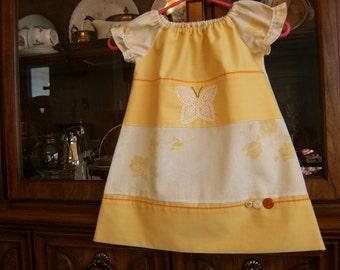 Girl's Peasant Dress 2/3T, Toddler Girl's Peasant Dress 2/3T, Girls Dress 2/3T, Pillowcase Dress 2/3T