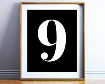 Wall decor printable - number 9 wall poster - bold number digital print - black and white art - bold typography poster - INSTANT DOWNLOAD