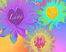 Live Laugh Love Flower Heart Hippie Wall Art Groovy Hue Color Peace Love Utopia Instant Download Digital Inspirational Quote Sign 4x6 Print