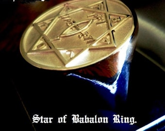 Solid Silver Heavy Star of Babalon Ring Magick