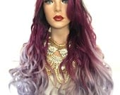"""Answer~ Long Lavender Ombre Curly Wave Lace Part Front Wig IN STOCK 24"""""""