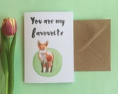 """Cute Fox Card """"Favourite"""" - Valentines day card"""