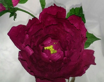 Dark Red/Maroon Crepe Paper Peony with 3 Buds