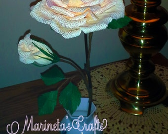 Light Orange and Creme Rose with a bud and leave branches/Crepe Paper Flower