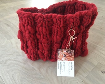 Bright red loop scarf