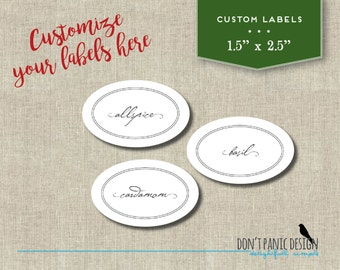 Spice Jar Label - DIY Custom - Simple Pretty Oval Spice Jar Labels - DIY Home Organizing - Printable Stickers