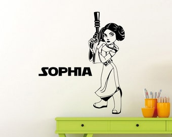 Personalized Star Wars Wall Decal Princess Leia Custom Name Quote Vinyl Sticker Kids Girl Room Bedroom Nursery Art Decor Mural 45sw