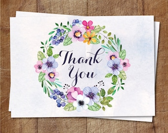 Floral Thank You Card Printable, Floral Baby Shower Thank You Cards, Shabby Chic Thank You Cards, Watercolor Floral Cards, Bridal Shower