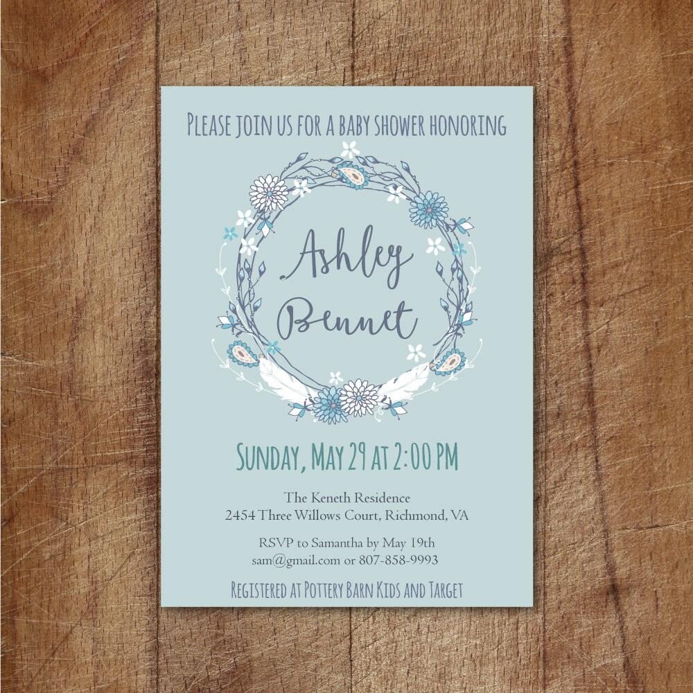 boho baby shower invitation tribal baby boy shower invitation