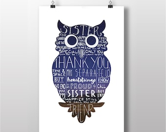 Sister Quote Printable with Owl