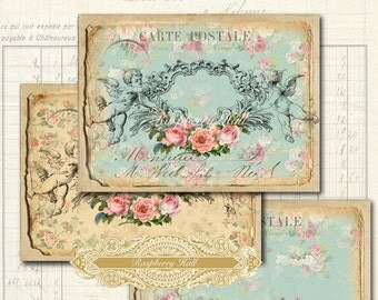 Pretty Postcards - digital download - post cards - tags - labels - notebooks - scrapbooking - crafts - Raspberry Hall