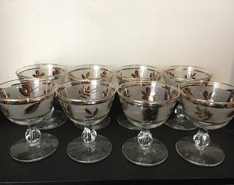 Libbey Golden Foilage Coupe or Sherbet Glasses - Set of 8