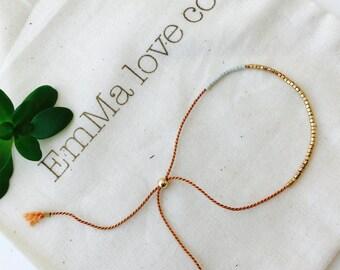 Carnelian String Bracelet / Minimalist Bracelet / Adjustable Bracelet / Stackable Bracelet / Silk String