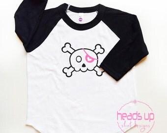Toddler Girl Skull Raglan Shirt - Skull tshirt Raglan Girl - Baby Girl Skull Tee - Girl Halloween Skull t shirt - Pirate Skull t shirt