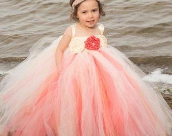 Flower Girl Tutu Dress, Coral Flower Girl Dress, Girls Tutu Dress, Wedding Tutu, Flower Girl Tutu, Bridesmaid Tutu, Birthday Tutu, Tutu