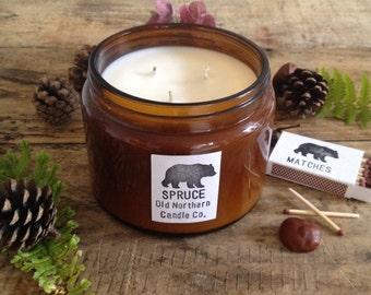 Spruce Amber Essential Oil Soy Wax Triple Wick Candle 500g