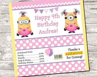 50% off Sale Girl Pink Minions Birthday Party Candy Wrapper Digital Printable