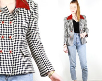 French Vintage Houndstooth Check Jacket Red Velvet Collar Mod Double Breasted Tweed Jacket 1960s Black White Dogtooth Check Blazer Size M L