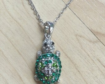 Cute Turtle Necklace Silver Tone Crystals Pendant Chain Ship From NY