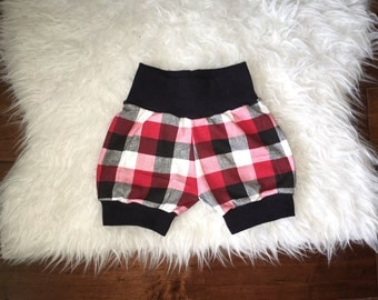 PLAID BABY SHORTS; buffalo plaid; red and black