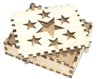 Beautiful star design wooden gift box