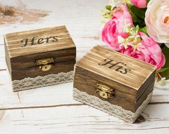 Ring Bearer Box Rustic wedding  His Hers Rustic Ring Bearer Box Ring Pillow Wedding Ring Holder Set of 2