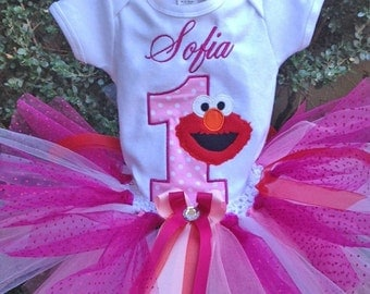 Pink Fuchsia Red Elmo 1st Birthday Outfit Onesie Tutu FREE Hair Bow Personalized
