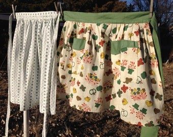 2 (two) vintage kitchen aprons