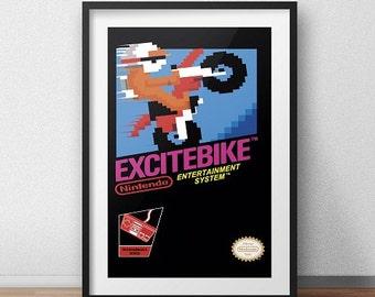 Excitebike Original NES Box print