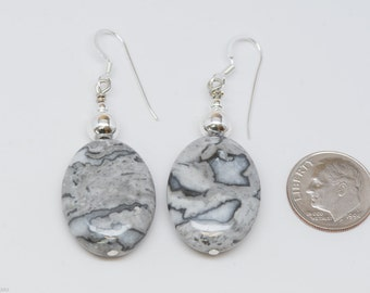 Picture Jasper Earrings - Reiki Infused with Sterling Silver Ear Wires