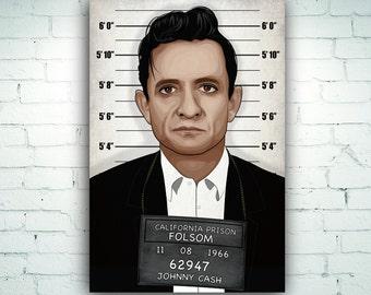 Johnny Cash Police Mugshot Illustration Art Print on Canvas