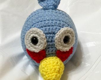 Crocheted Blue Angry Bird 0, Crocheted Angry Bird, Stuffed Angry Bird, Handmade Blue Bird