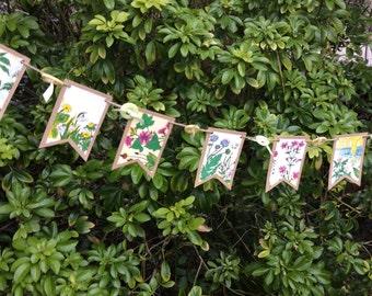 Vintage Floral book bunting-spring garland- easter- wedding- tea party
