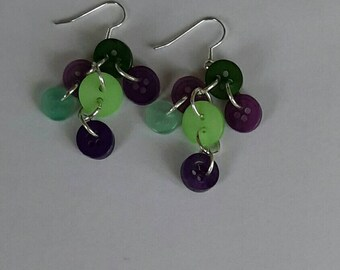 Green and purple button drop earrings