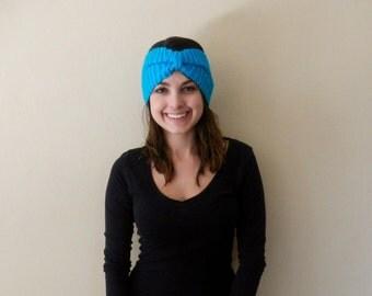 Knit Headband, Hand Knit Turban Style Ear Warmer, Knitted Women's Headband