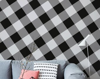 Gingham Wallpaper - Customizable - Black and White - Adhesive Wallpapaer - Wall Sticker - Repositionable - Wall Art - Wallpaper Mural