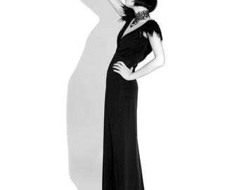 Raven Dress, Couture, Feathers, Bridal, Bridesmaid Dress, Gothic, Black Dress, Alternative