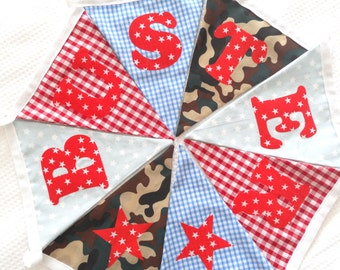Gingham, Star and Camouflage Bunting Mix 1