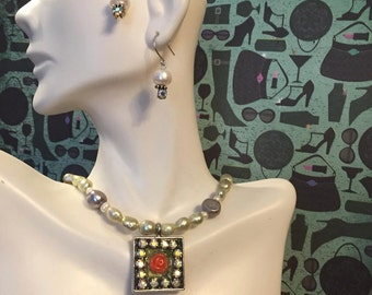 One of A Kind Resin Rose, Rhinestone and Freshwater Pearl Necklace and Earrings! Ready to Ship!