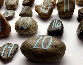 Counting number stones, Sensory math manipulative, numbers 1-20