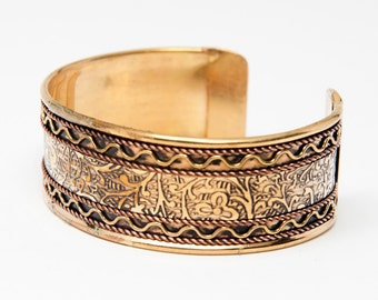 Brass and Copper Swirl Cuff Bracelet